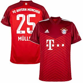 21-22 FC Bayern Munich Home Shirt + Müller 25 (Official Printing)