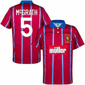 93-94 Aston Villa Home Retro Shirt + McGrath 5 (Retro Flock Printing)