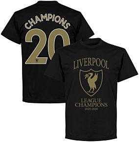"Liverpool 2020 League Champions Crest ""Champions 20"" KIDS T-shirt - Black"