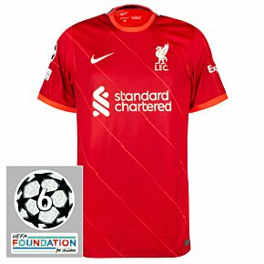 21-22 Liverpool Home Shirt + UCL Starball 6 Times Winner + UEFA Foundation Patches