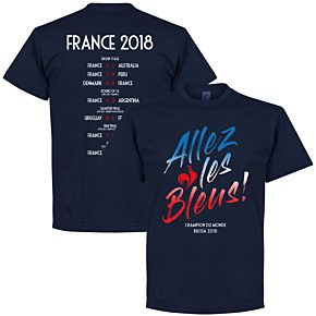 France Allez les Bleus Russia 2018 Road to Victory Tee - Navy