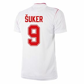 92-93 Sevilla Home Retro Shirt + Šuker 9 (Retro Flock Printing)