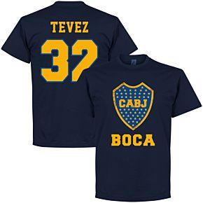 Boca Tevez 32 CABJ Crest Tee - Navy