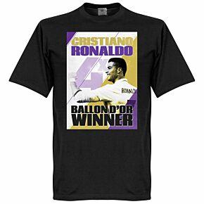 Ronaldo 4 Times Ballon d'Or Winners Madrid KIDS Tee - Black