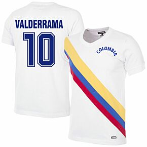 72-73 Colombia Retro Shirt + Valderrama 10 (Retro Flock Printing)