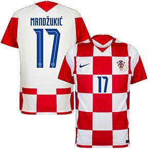 20-21 Croatia Home Shirt + Mandžukić 17 (Official Printing)