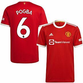 21-22 Man Utd Home Shirt + Pogba 6 (Premier League)
