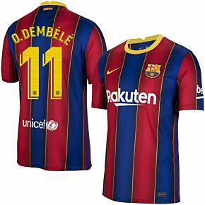 20-21 Barcelona Home Shirt + O.Dembele 11 (Official Pro Size)