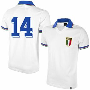1982 Italy Away Shirt + No.14 (Retro Flock Printing)
