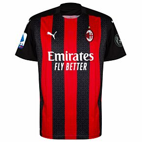 20-21 AC Milan Home Shirt + Serie A + UCL 7 Times Trophy Patches