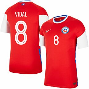 20-21 Chile Home Shirt + Vidal 8 (Fan Style Printing)
