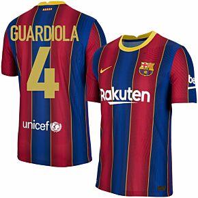 20-21 Barcelona Vapor Match Home Shirt + Guardiola 4 (Retro Fan Style)