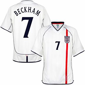 2002 England Home Retro Shirt + Beckham 7 (Retro Flock Printing)