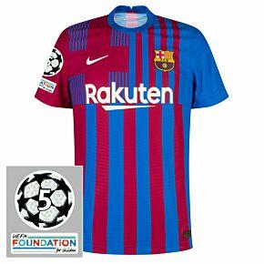 21-22 Barcelona Dri-Fit ADV Match Home Shirt + UCL 5 Times