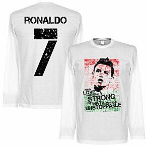 Ronaldo 7 Portugal Flag L/S Tee - White