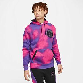 2021 PSG x Jordan AOP Fleece Hoodie - Purple/Pink