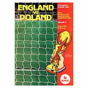 England vs Poland 1990 World Qualifier at Wembley Stadium Program - 6/03/89