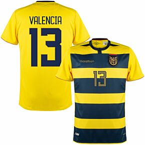 2021 Ecuador Copa America Home Shirt + Valencia 13 (Fan Style Printing)