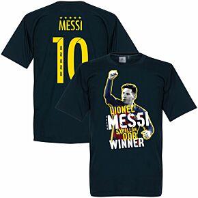Messi No 10 Five Time Ballon Winner KIDS Tee -  Navy