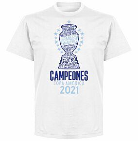 Argentina 2021 Copa America Champions KIDS T-shirt - White