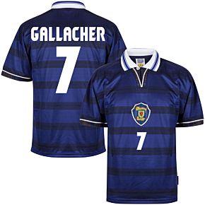 1998 Scotland Home World Cup Finals Retro shirt + Gallacher 7 (Retro Flock Printing)