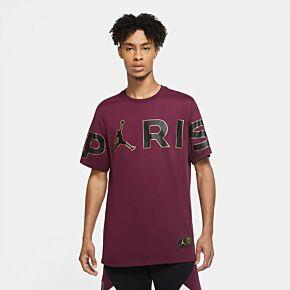 20-21 PSG x Jordan Wordmark T-shirt - Bordeaux