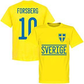 Sweden Forsberg 10 2020 Team T-Shirt - Yellow