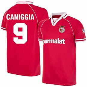 94-95 Benfica Home Retro Shirt + Caniggia 9 (Retro Flock Printing)