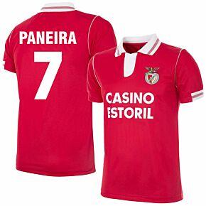92-93 Benfica Home Retro Shirt + Paneira 7 (Retro Flock Printing)