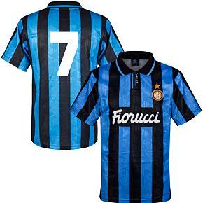 91-92 Inter Milan Home Retro Shirt + No.7 (Retro Flock Printing)