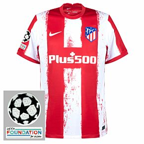 21-22 Atletico Madrid Home Shirt + UCL Patches