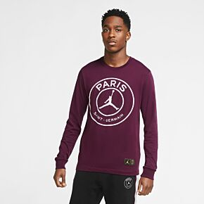 20-21 PSG x Jordan L/S T-shirt - Bordeaux