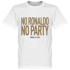 No Ronaldo No Party Tee - White