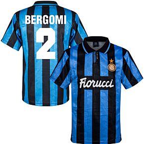 91-92 Inter Milan Home Retro Shirt + Bergomi 2 (Retro Flock Printing)