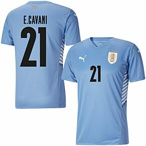 21-22 Uruguay Home Shirt + E.Cavani 21(Official Printing)
