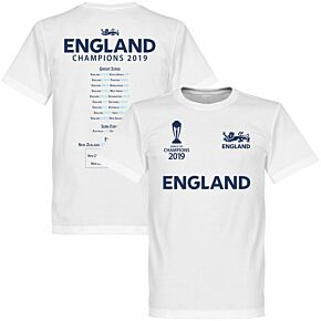 England Cricket World Cup Winners Road to Victory Tee - White