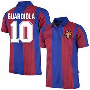 90-91 Barcelona Home Retro Shirt + Guardiola 10 (Retro Flock Printing)