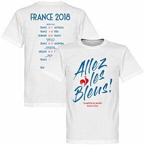 France Allez les Bleus Russia 2018 Road to Victory Tee - White