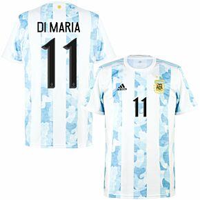 2021 Argentina Home Shirt + Di María 11 (Official Printing)
