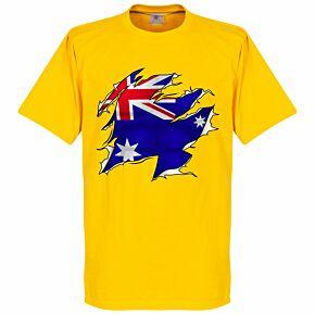 Australia Ripped Flag Tee - Yellow