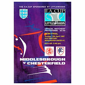 Middlesbrough vs Chesterfield FA Cup Semi Final at Old Trafford Program - April 13, 1997