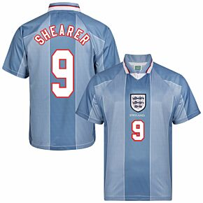 1996 England Euro 96 Away Retro Shirt + Shearer 9 (Retro Flex Printing)