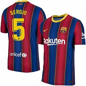 20-21 Barcelona Vapor Match Home Shirt + Sergio 5 (Official Pro Size)