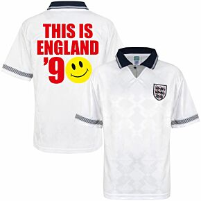 1990 England Home Retro World Cup Finals Shirt + This Is England '90 (Retro Flock Printing)