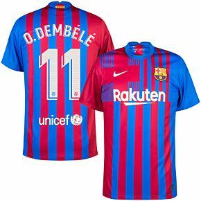 21-22 Barcelona Home Shirt + O.Dembélé 11 (Official Printing)