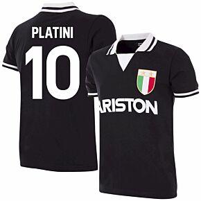 86-87 Juventus Away Retro Shirt + Platini 10 (Retro Flock Printing)