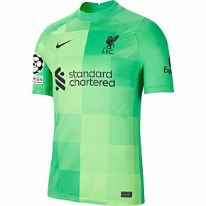 21-22 Liverpool Home GK Shirt + UCL Starball 6 Times Winner + UEFA Foundation Patches