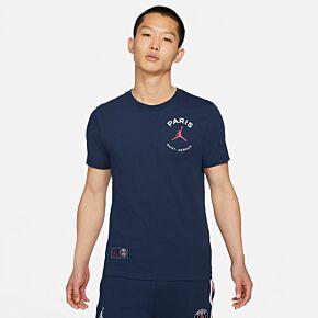 21-22 PSG x Jordan Logo T-shirt - Navy