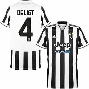 21-22 Juventus Home Shirt + De Ligt 4 (Official Printing)