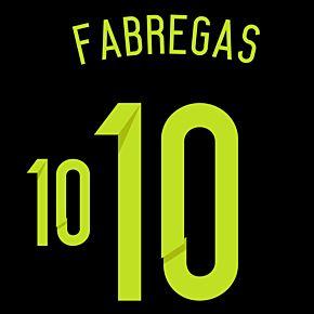 Fabregas 10 - Spain Away Official Name & Number 2014 / 2015